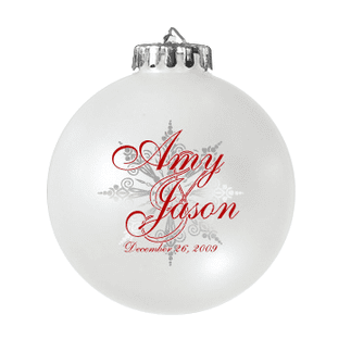 Custom Christmas wedding ornament in white and red. Acrylic or glass ball.