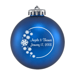 Custom Christmas wedding ornament in blue and silver or white. Acrylic or glass ball.