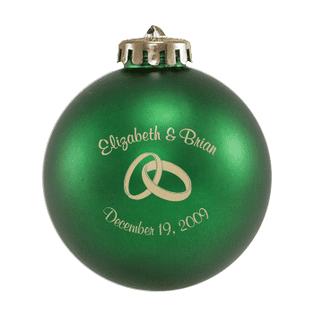 Custom Christmas wedding ornament in green and gold. Acrylic or glass ball.