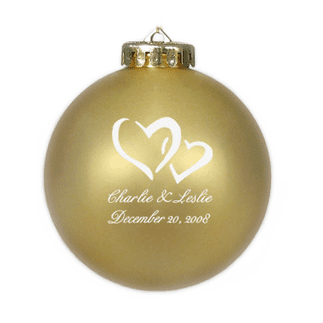 Custom Christmas wedding ornament in gold and white. Acrylic or glass ball.