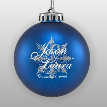 Personalized Wedding Favor Blue Ornament