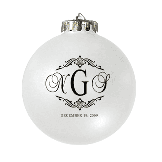 Custom Christmas wedding ornament in white and black. Acrylic or glass ball.