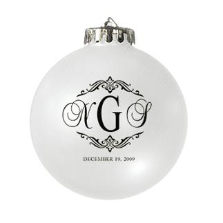 Custom Christmas wedding ornament in white and black. Acrylic or glass ball.