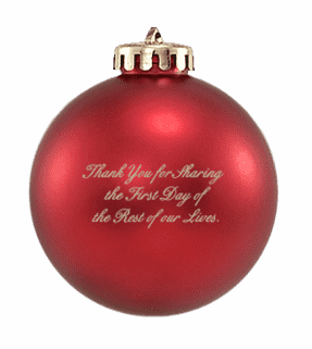 Custom Christmas wedding ornament with message on back in red and gold. Acrylic or glass ball.