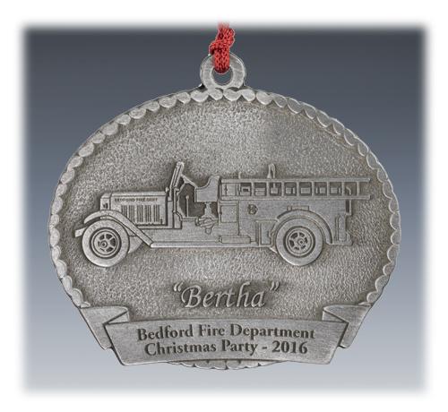 Custom Pewter Fire Truck Ornament