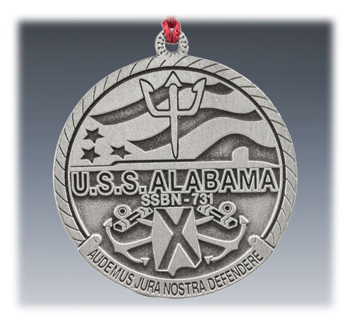 Custom Pewter Military Ornament USS Alabama