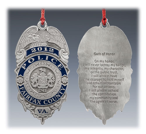 Custom Pewter Police Ornament 1 Color