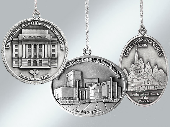 Pewter custom Christmas ornament keepsakes from Howe House Limited Editions