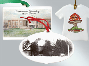 Porcelain custom Christmas ornaments in bulk from Howe House Limited Editions
