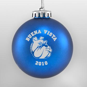 Acrylic Blue Bulldog School Ornament