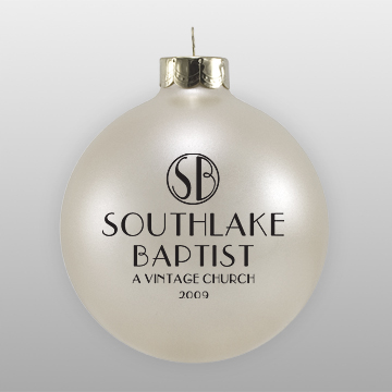 Beige Custom Church Logo Glass Ornament