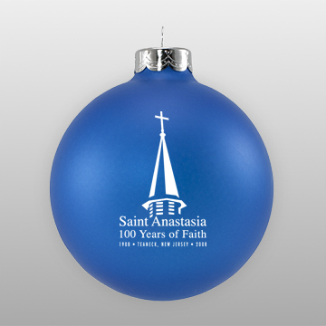 Custom Blue Church Glass Ornament