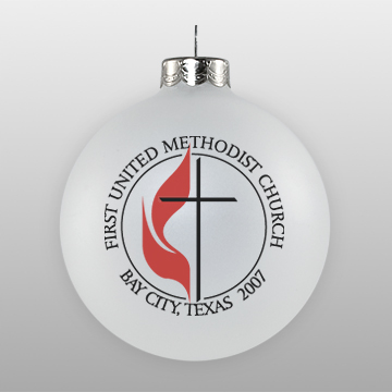 Custom Methodist Church Glass Ornament