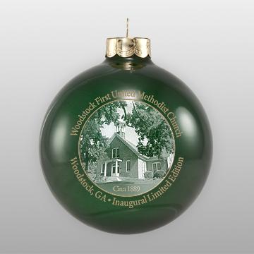 Custom Glass Green Church Ornament