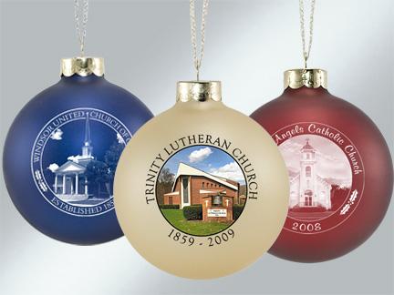 Glass Church Photo Ornaments