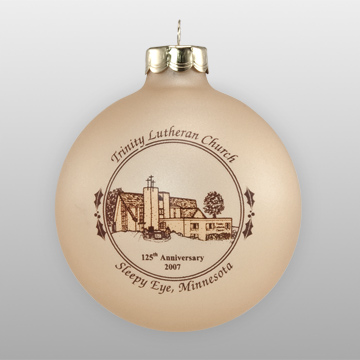 Custom Glass Lutheran Church Sketch Ornament