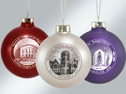 Glass Church Sketch Ornaments