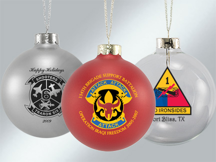 Custom Glass Ornaments for Military Groups