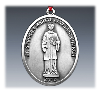 Custom Pewter Catholic Church Ornament