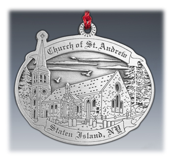 Custom 2D Pewter Church Ornament
