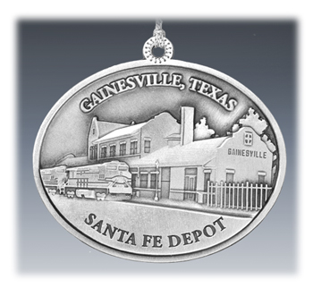 Custom Pewter Landmark Depot Ornament
