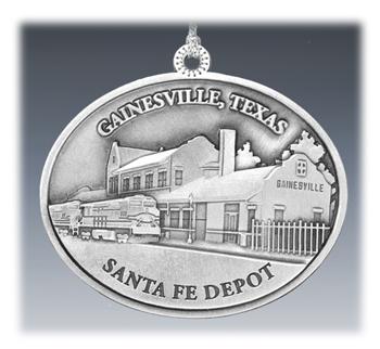 Custom Pewter Landmark Depot Ornament