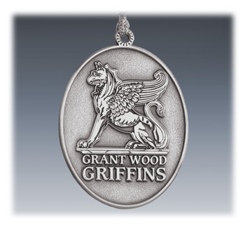 Custom 2D Pewter School Ornament