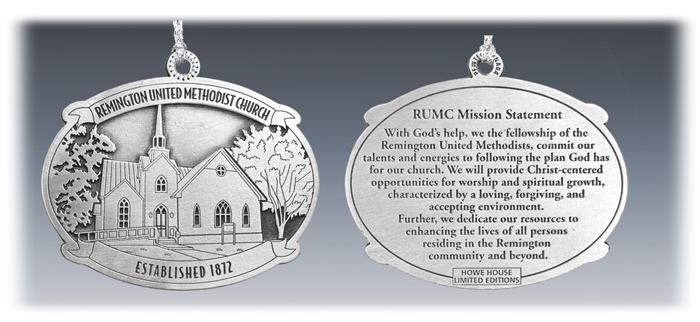 Custom Pewter United Methodist Church Ornament