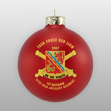 Matte Red Custom Military Ornament