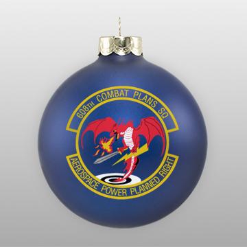 Matte Navy Custom Glass Military Ornament