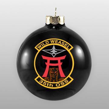 Black Military Custom Glass Ornament